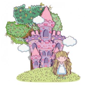 Ragazza fantastica creatura con castello e nuvole