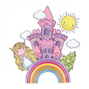Ragazza fantastica creatura con castello nell'arcobaleno