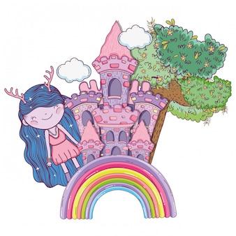 Ragazza fantastica creatura con castello e albero