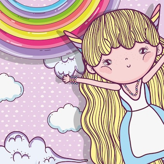 Ragazza fantastica creatura con arcobaleno e nuvole