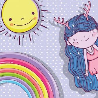 Ragazza fantastica creatura con sole e arcobaleno