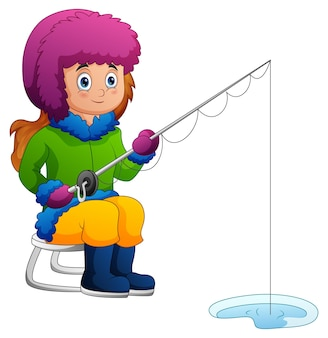 Una ragazza che pesca nell'illustrazione di inverno
