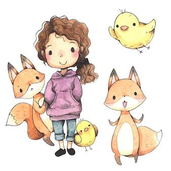 Cartone animato ragazza, volpe e pulcino