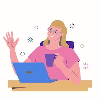Ragazza freelance lavora a un laptop e beve da una tazza. lavoro da casa, freelance, lavoro a distanza. formazione online e chat con gli amici.