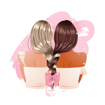 Acconciatura alla moda della treccia dell'amica decorata con il nastro. clipart di concetto di amicizia. illustrazione Vettore Premium