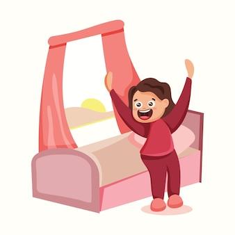 La ragazza si alza dal letto la mattina e fa esercizi. illustrazione vettoriale in stile piatto