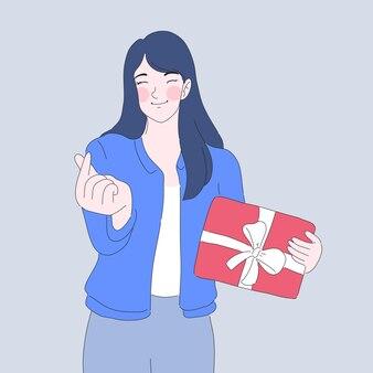 La ragazza dà l'illustrazione del mini cuore
