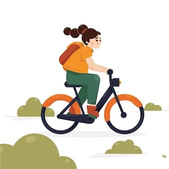Ragazza che va a scuola in bicicletta illustrazione