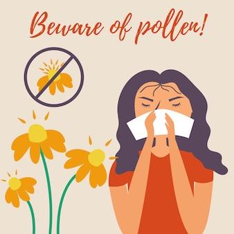 Fazzoletto ragazza starnutisce allergia naso che cola allergia fiori di polline attenzione al polline