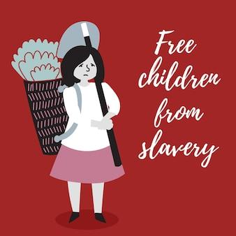 Ragazza che raccoglie bambini da tratta di schiavi abusi sui minori