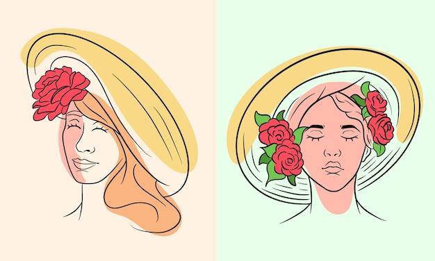 Ragazza in un'astrazione del cappello. ragazza con rose su un copricapo. stile di linea. illustrazione vettoriale per design e decorazione.