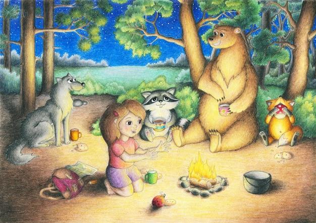 La ragazza e i suoi amici animali nella foresta