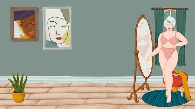 Ragazza in mutande in piedi davanti a un vettore di carta da parati in stile schizzo a specchio