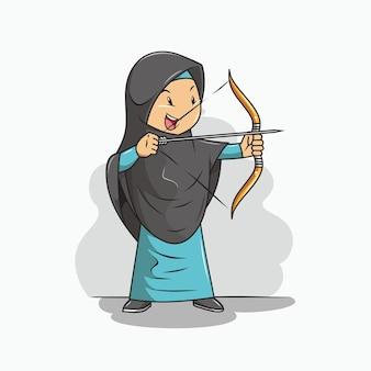 Ragazza in hijab sta praticando il tiro con l'arco
