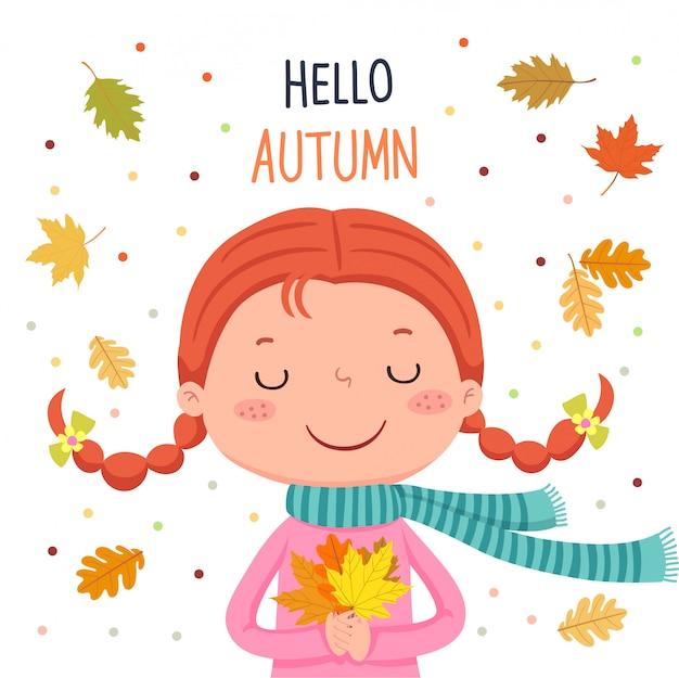 Ragazza con foglie di autunno. ciao illustrazione autunnale
