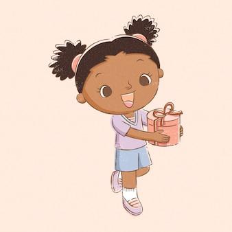 Ragazza che tiene il regalo di compleanno in stile linea disegnata a mano