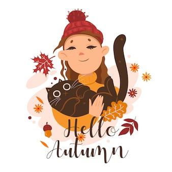 Ragazza che tiene un gatto in braccio e la scritta hello autumn. grafica