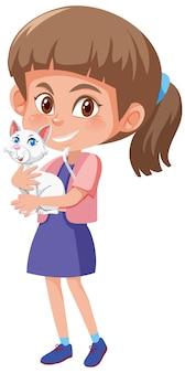 Ragazza con simpatico personaggio dei cartoni animati animale isolato su sfondo bianco