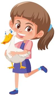 Ragazza con simpatico personaggio dei cartoni animati animale isolato su bianco