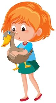 Ragazza con simpatico personaggio dei cartoni animati animale isolato