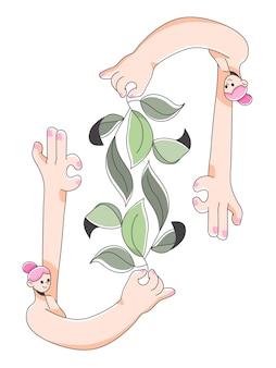 Illustrazione sveglia della pianta della foglia della tenuta della ragazza