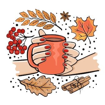 Ragazza che tiene la tazza di tè nelle sue mani autunno autunno giardino natura disegnato a mano cartoon clip art set