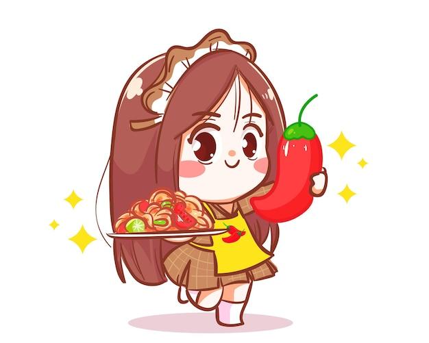 Ragazza che tiene l'illustrazione di arte del fumetto del personaggio del logo dell'insalata di papaia