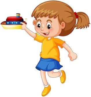 Una ragazza con un personaggio dei cartoni animati di nave giocattolo isolato su sfondo bianco