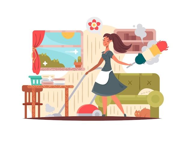 La governante della ragazza pulisce l'appartamento, aspira e asciuga la polvere. illustrazione vettoriale di pulizia della casa
