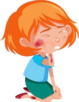 Ragazza ferita al personaggio dei cartoni animati di guancia e braccio isolato su priorità bassa bianca