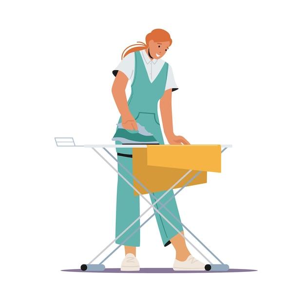 Ragazza che stira vestiti puliti nella lavanderia pubblica o dell'hotel. casalinga o domestica lavora in lavanderia. dipendente di carattere femminile del processo di lavoro del servizio di pulizia professionale. fumetto illustrazione vettoriale