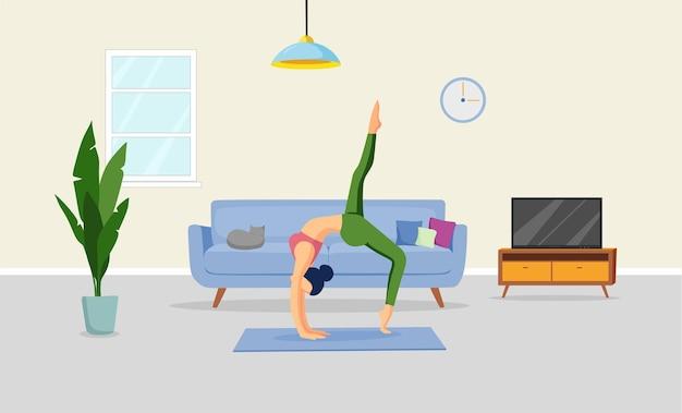 Una ragazza sta facendo yoga in soggiorno illustrazione vettoriale attività sportive