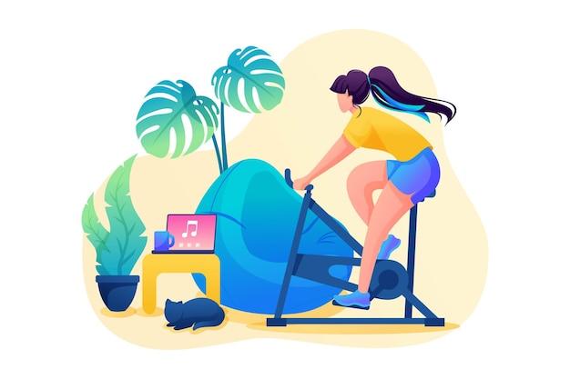La ragazza è impegnata in sport a casa, in bicicletta. personaggio piatto 2d. concetto per il web design.