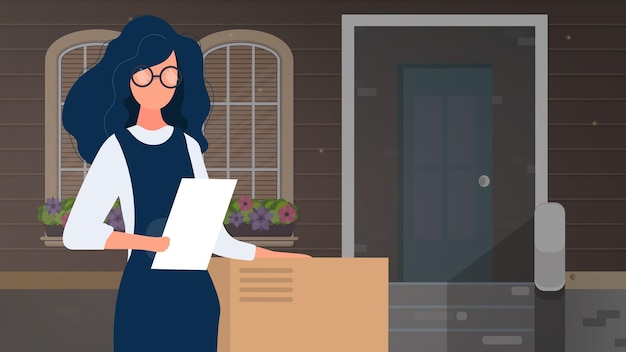 La ragazza ha in mano una lista e una grande scatola. consegna di pacchi a casa banner. il concetto di consegna di merci, pacchi e merci a casa. vettore.