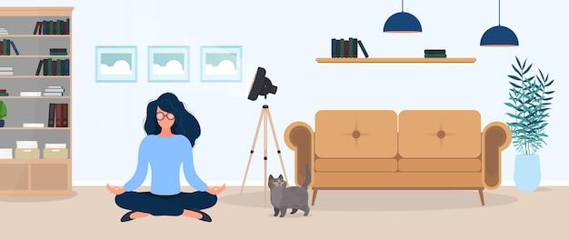 La ragazza sta meditando nella stanza. la ragazza pratica lo yoga. camera, divano, quadri, libreria. illustrazione