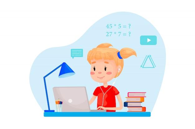 La ragazza sta studiando online con il portatile al tavolo. illustrazione piatta vettoriale per siti web.