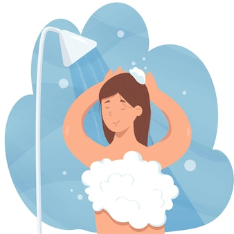 La ragazza sta facendo la doccia con schiuma, bolle, getto d'acqua in bagno. lavaggio del corpo e dei capelli. cartoon illustrazione dell'igiene quotidiana.