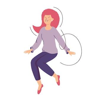 La ragazza salta. il concetto di successo, buona fortuna e buon umore. donna felice.