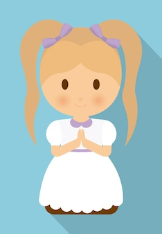 Icona del vestito bianco del fumetto del capretto della ragazza