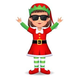 Ragazza ragazzo in abito da elfo raffreddato