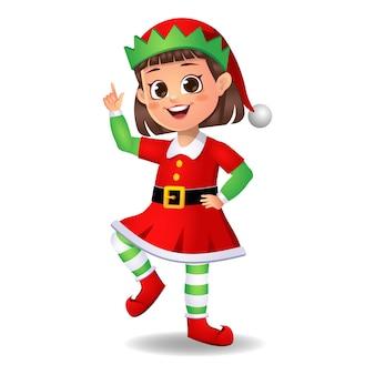 Ragazza ragazzino in abito da elfo ballando