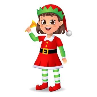 Ragazza ragazzo in abito da elfo che suona il campanello