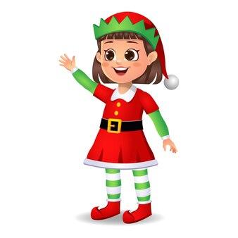 Ragazza ragazzino in abito da elfo dicendo ciao