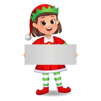 Ragazza ragazzino in abito da elfo che mostra bordo bianco