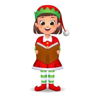 Ragazza ragazzino in abito da elfo canta una canzone