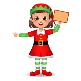 Ragazza ragazzino in abito da elfo con bordo