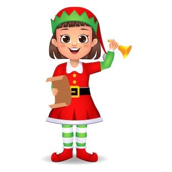 Ragazza ragazzino in vestito da elfo con lettera e campanello