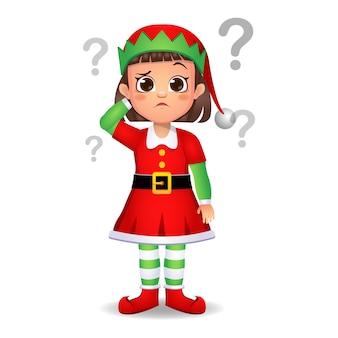 Ragazza ragazzino in abito da elfo con punto interrogativo