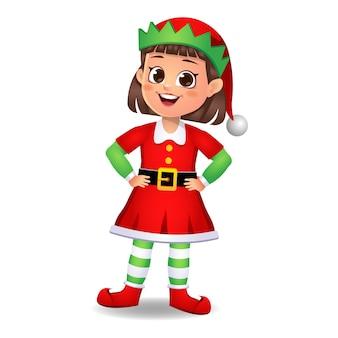 Ragazza ragazzino in abito da elfo