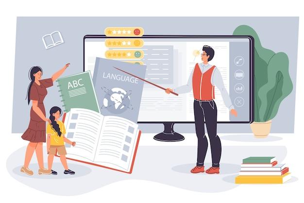 Ragazza ragazzino che acquisisce conoscenze linguistiche alla lezione online